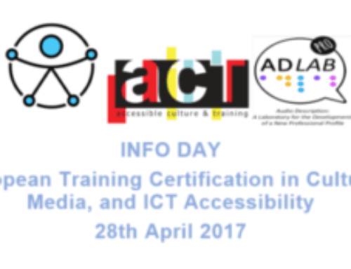 INFO DAY European Training Certification in Culture, Media, and ICT Accessibility