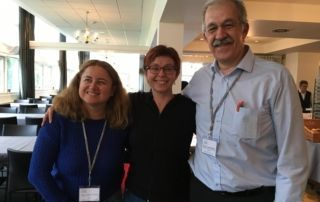 Mabel Asensi, a deafblind person, Sonja Tarczay, EDbU chair and Ricard López, EDbN chair